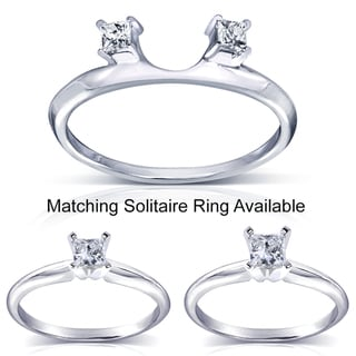 Annello 14k White Gold Princess Cut Diamond Wrap or Princess Cut Solitaire Ring (H-I, I1-I2)