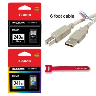 Genuine Canon PG-240XL Black + CL-241XL Color Ink Cartridge (6ft USB Cable + Velcro Tie included)