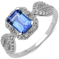 Malaika Sterling Silver 1ct TGW Tanzanite and White Sapphire Ring