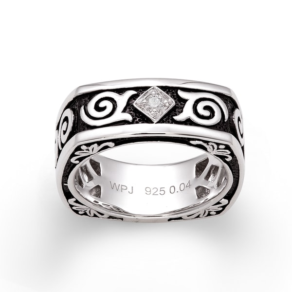Sterling Silver Diamond Accent Black Antiqued Ring