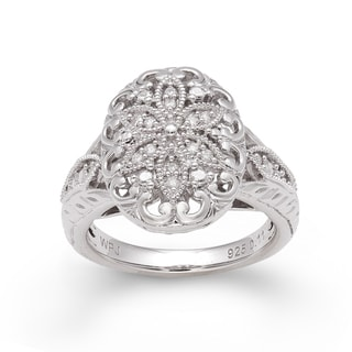 Sterling Silver 1/10ct TDW Diamond Floral Ring (H-I, I2-I3)