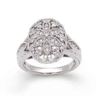 Sterling Silver 1/10ct TDW Diamond Floral Ring (H-I, I2-I3)