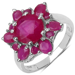 Malaika Sterling Silver 4 4/5ct TGW Ruby Ring