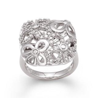 Sterling Silver 1/4ct TDW Diamond Floral Ring (H-I, I2-I3)