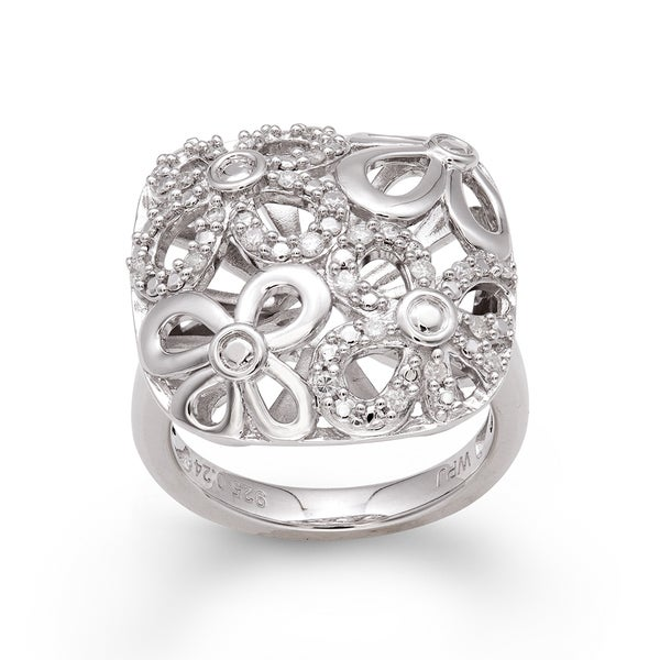 Sterling Silver 1/4ct TDW Diamond Floral Ring (H-I, I2-I3)