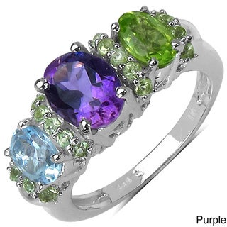 Malaika Sterling Silver 2 7/8ct TGW Peridot or Multi-gemstone Ring