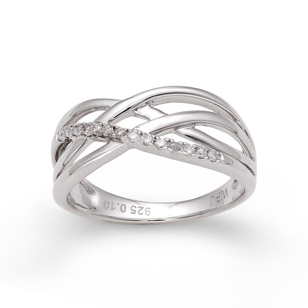 Sterling Silver 1/10ct TDW Diamond Braided Ring (H-I, I2-I3)
