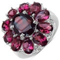Malaika Sterling Silver 8 3/4ct TGW Garnet and Rhodolite Ring