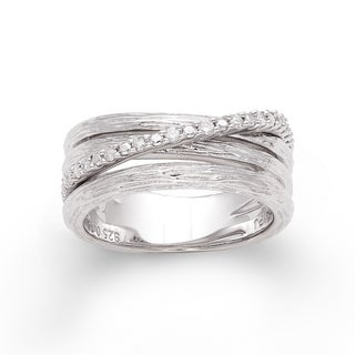 Sterling Silver 1/6ct TDW Diamond Three-row Crossover Ring (H-I, I2-I3)