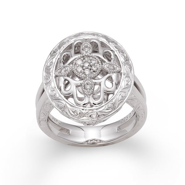 Sterling Silver 1/6ct TDW Diamond Vintage-inspired Ring (H-I, I2-I3)