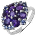 Malaika Sterling Silver 2 1/2ct TGW Amethyst and Tanzanite Ring