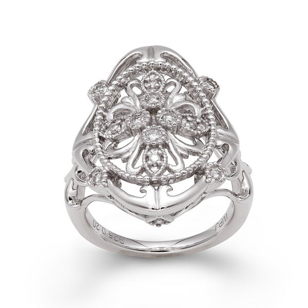 Sterling Silver 1/5ct TDW Diamond Vintage-inspired Ring (H-I, I2-I3)