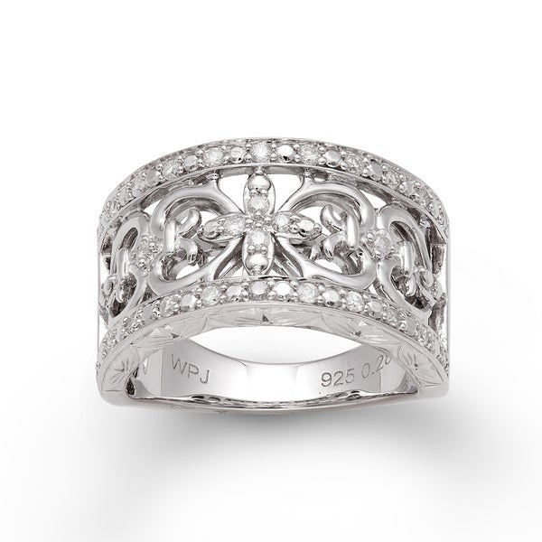 Sterling Silver 1/3ct TDW Diamond Vintage-inspired Ring (H-I, I2-I3)