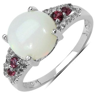 Malaika Sterling Silver 2.09ct TGW Ethiopian Opal Tourmaline and Topaz Ring