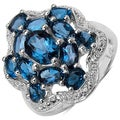 Malaika Sterling Silver 4 3/5ct TGW Ruby or Blue Topaz Ring