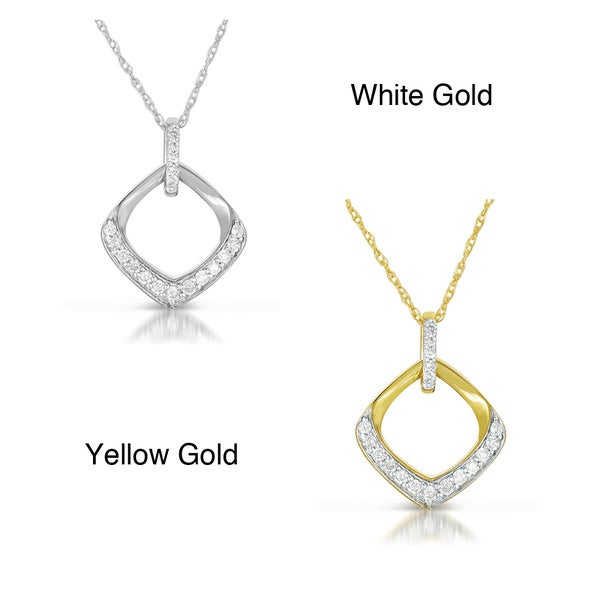 Eloquence 10k White or Yellow Gold Diamond Square Necklace (G-H, I2-I3)