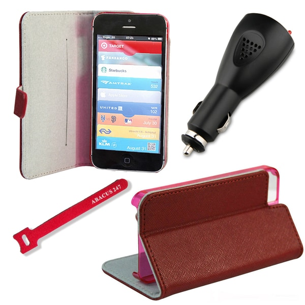 Deluxe Apple iPhone 5 Red Wallet Stand Case with High Speed USB Car Charger