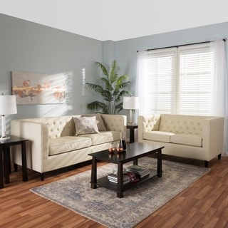 Baxton Studio Cream Leather 2-piece Sofa Set