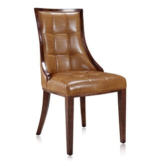 Barrel Dark Brown Finish Leather Dining Chair (Set of 2)