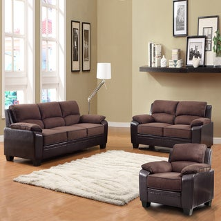 Morena Dark Brown Two-Tone Microfiber 3-piece Living Room Set