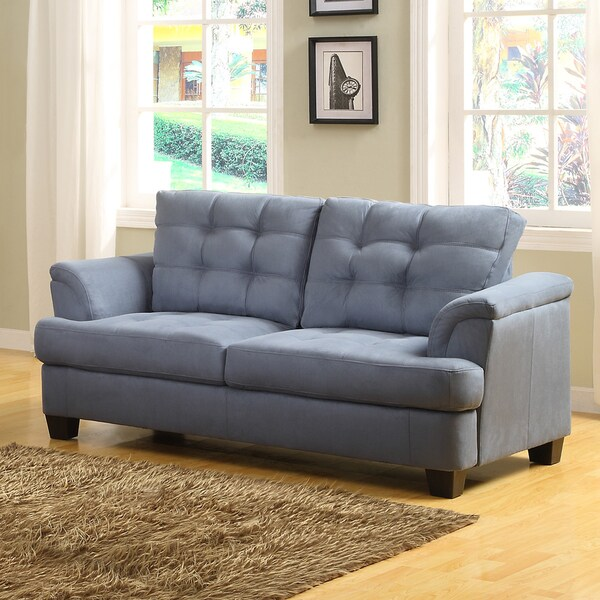 Rosalie Grey Blue Tone Microfiber Tufted Modern Loveseat