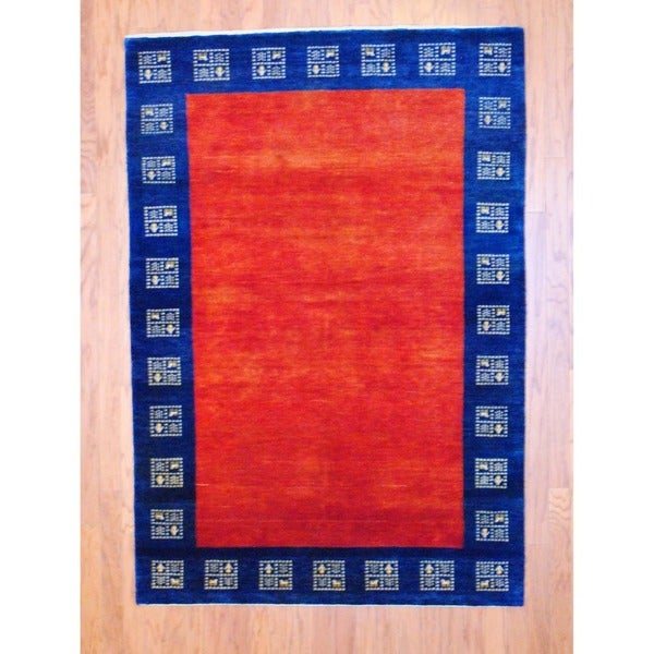 Indo Hand-knotted Gabbeh Red/ Blue Wool Rug (4'8 x 6'9)