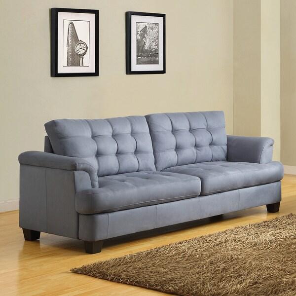 Rosalie Grey Blue Tone Microfiber Tufted Modern Sofa