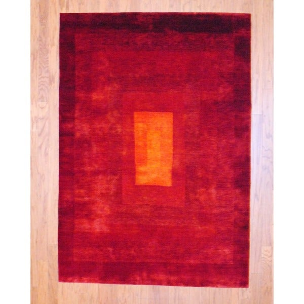 Indo Hand-knotted Gabbeh Red/ Gold Wool Rug (4'9 x 6'9)