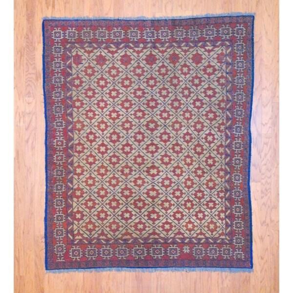 Afghan Hand-knotted Tribal Soumak Gold/ Red Flatweave Kilim Wool Rug (5'4 x 6'4)