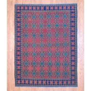 Afghan Hand-knotted Tribal Soumak Red/ Green Flatweave Kilim Wool Rug (5'10 x 7'9)