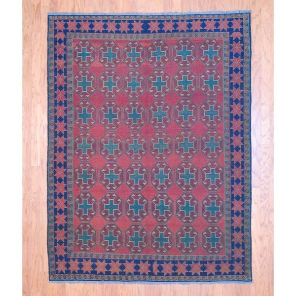 Afghan Hand-knotted Tribal Soumak Red/ Green Flatweave