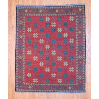 Afghan Hand-knotted Tribal Soumak Light Red/ Light Green Kilim Wool Rug (5' x 6'4)