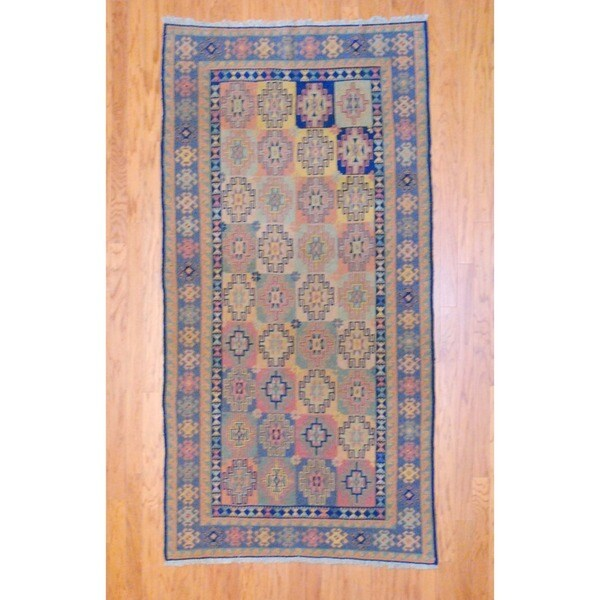Afghan Hand-knotted Tribal Soumak Light Blue/ Light Green Kilim Wool Rug (4' x 8'2)