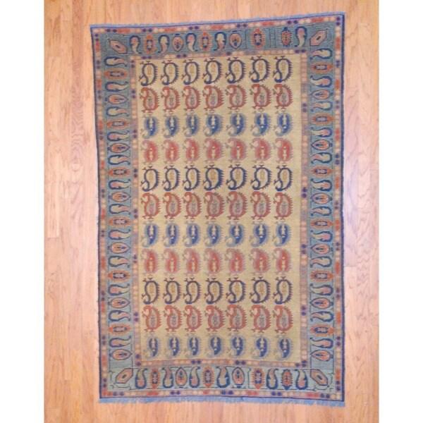 Afghan Hand-knotted Tribal Soumak Gold/ Rust Kilim Wool Rug (5'2 x 7'10)