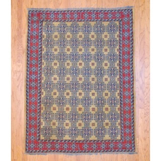 Afghan Hand-knotted Tribal Soumak Gold/ Light Blue Kilim Wool Rug (5' x 7')