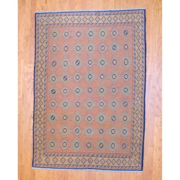 Afghan Hand-knotted Tribal Soumak Peach/ Navy Kilim Wool Rug (5' x 7')