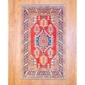 Afghan Hand-knotted Tribal Kazak Red/ Navy Wool Rug (4'1 x 6'7)