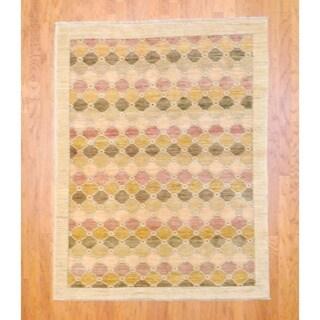 Afghan Hand-knotted Vegetable Dye Beige/ Purple Wool Rug (5' x 6'4)