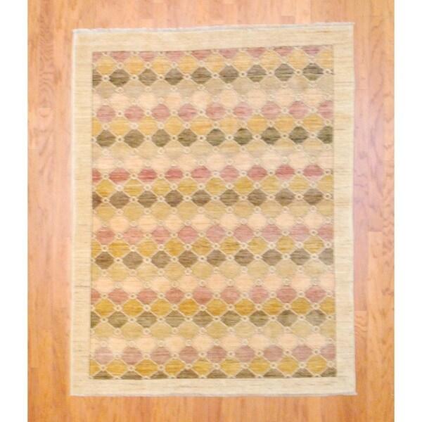 Herat Oriental Afghan Hand-knotted Vegetable Dye Beige/ Purple Wool Rug (5' x 6'4)