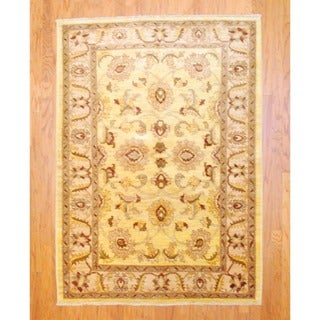 Afghan Hand-knotted Vegetable Dye Gold/ Red Wool Rug (5' x 7')