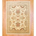 Afghan Hand-knotted Vegetable Dye Beige/ Rust Wool Rug (5' x 6'9)
