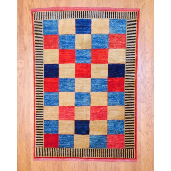 Afghan Hand-knotted Vegetable Dye Red/ Light Blue Wool Rug (5' x 7'2)