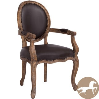 Christopher Knight Home Jacob Espresso Leather Weathered Oak Arm Chair