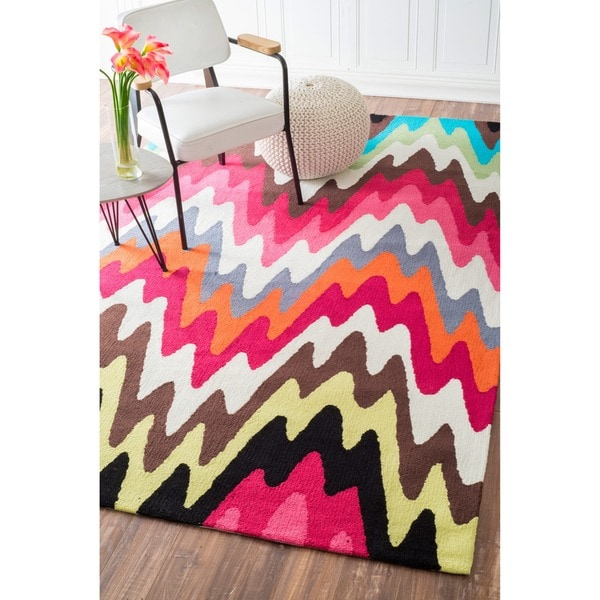 nuLOOM Handmade Abstract Chevron Multi Rug
