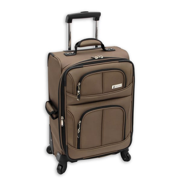 London Fog Nottingham 21-inch 360 Mocha Expandable Carry On Spinner Upright