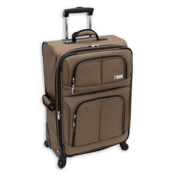 London Fog Nottingham 360 Mocha 25-inch Expandable Spinner Upright Suitcase