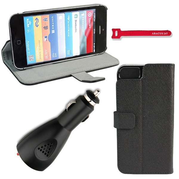 Deluxe Apple iPhone 5 Black Wallet Stand Case with USB Car Charger