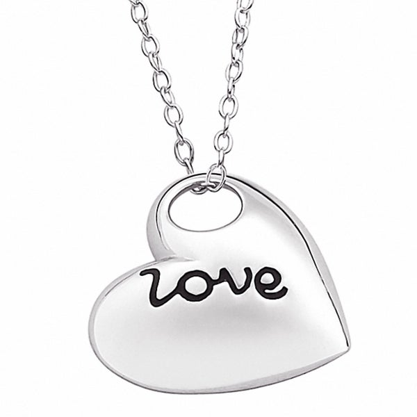 Sterling Silver Love Open Heart Sentiment Necklace