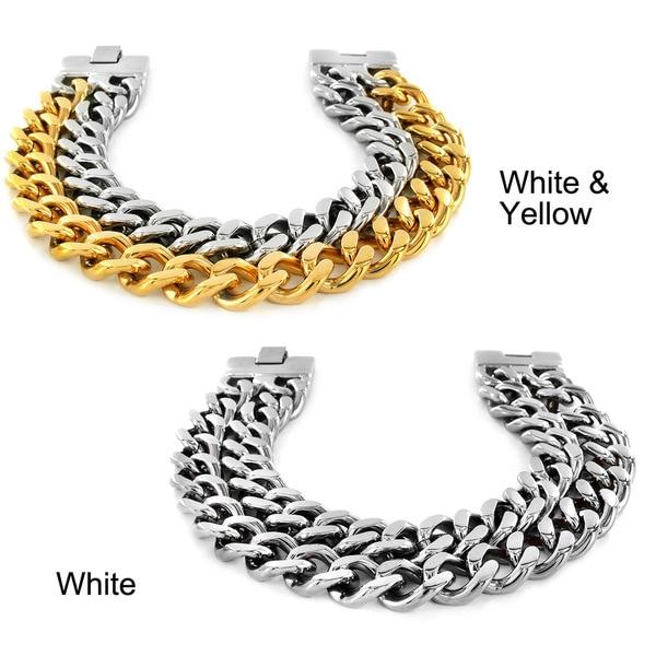Stainless Steel Dual Band Men's Chain Bracelet