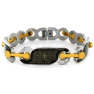 West Coast Jewelry Stainless Steel Spanish Lord's Prayer Link Bracelet